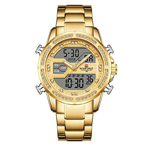 NAVIFORCE Reloj analógico digital para hombre, cronógrafo, impermeable, deportivo, de cuarzo, de acero inoxidable, militar, analógico, con visualización digital