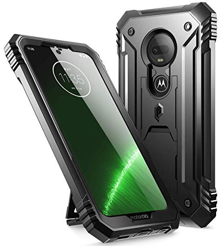Moto G7 Rugged Case with Kickstand, Poetic Full-Body Dual-Layer Shockproof Protective Cover, Built-in-Screen Protector, Revolution Series, DO NOT FIT Moto G7 Power Or Moto G7 Play, Black