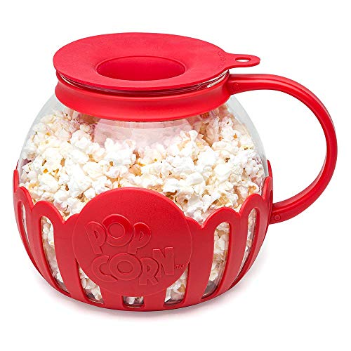 Ecolution Original Microwave MicroPop Popcorn Popper Borosilicate Glass 3in1 Silicone Lid Dishwasher Safe BPA Free 3 Quart Family Size Red