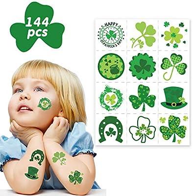 Tobbetter Shamrock Party Favors for Kids - 144pcs St Patrick's Day Irish Tattoo Sticker Ireland Green Party Gift Favors