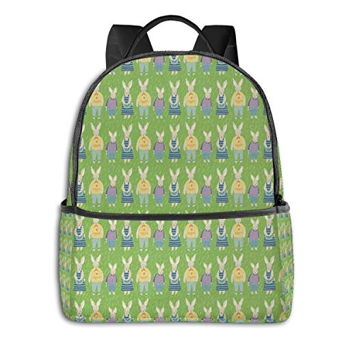 School Backpack for Men Women Teenager Daypack Fit 15.6 Inch Laptop Satchels Rucksack, Rabbit 2 Casual Travel Backpack