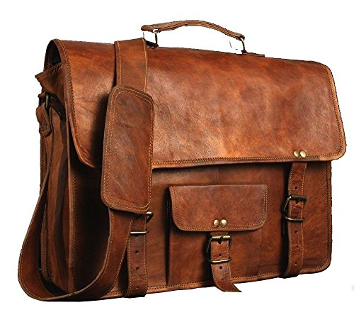 "Leather Bags Leather Messenger Bag for Men & Women, Vintage Business Briefcase for Laptops & Books ~ Handmade, Rugged & Distressed ~ Genuine Retro 11"" 13"" 15"" 17"" 20"" … (10 x 13 (33 cm))"