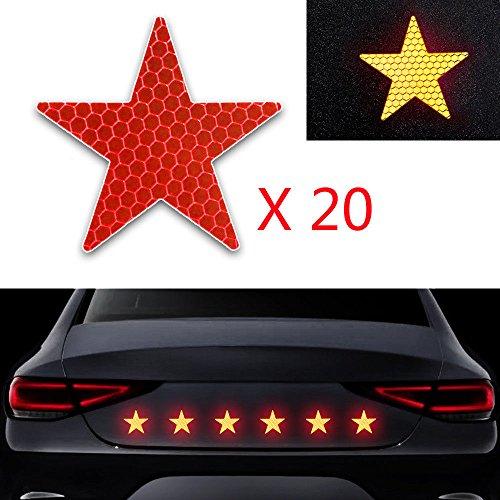 20x Alta Intensidad Pegatina Cinta Reflectante Autoadhesivo para Camión de la Motocicleta del Barco de la Bici del Casco del Remolque del Coche Forma de Estrella Rojo