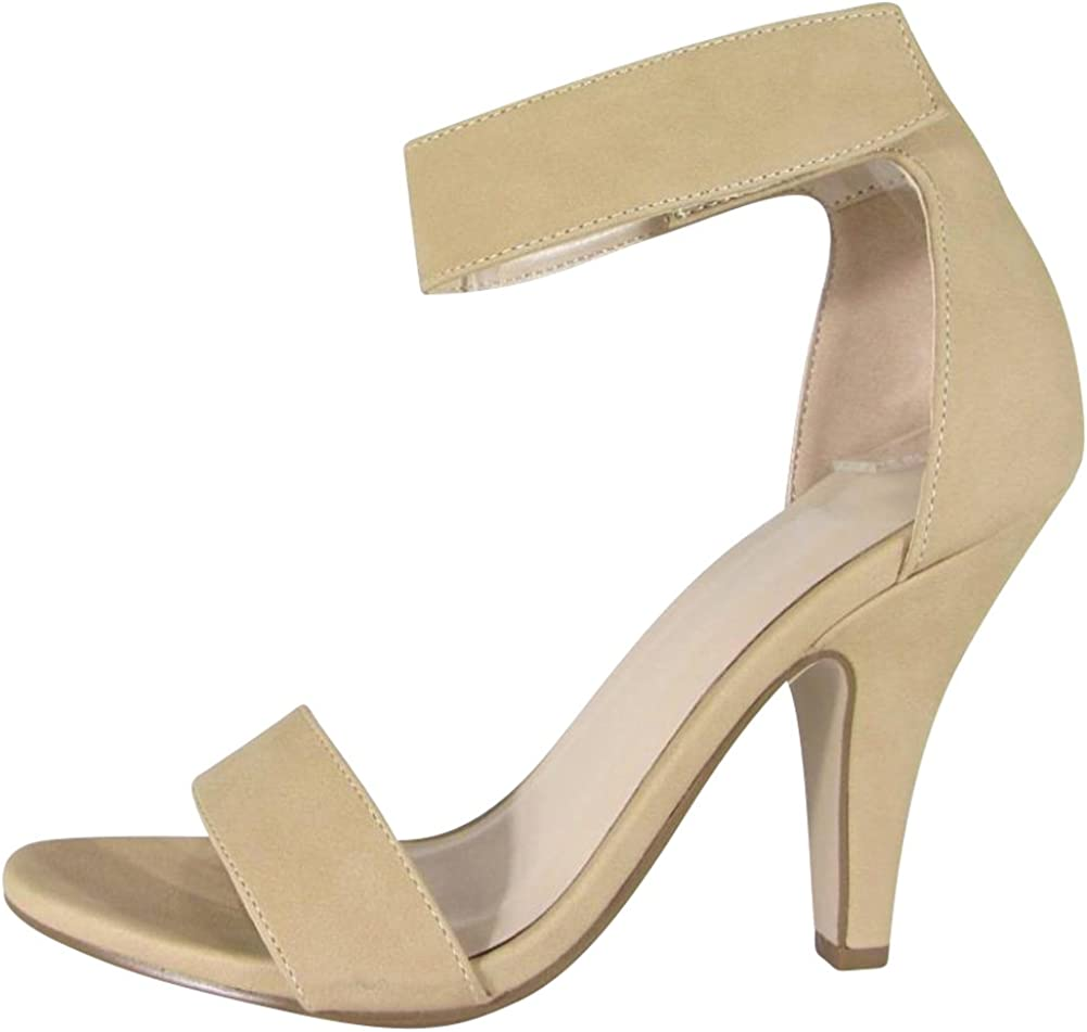 Cambridge Select Women's Thick Ankle Strap Tapered High Heel Dress Sandal