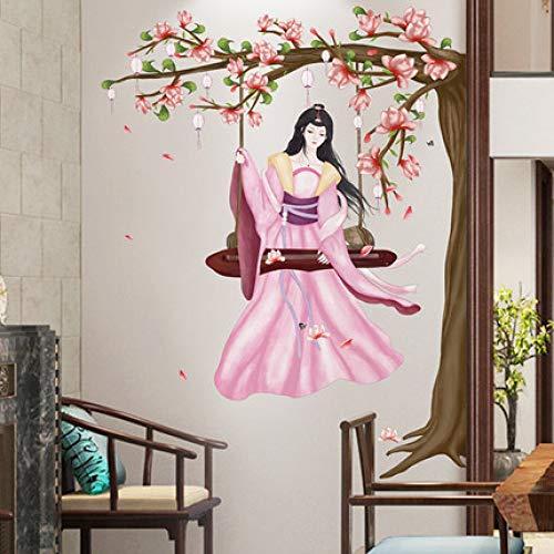 Chinesische Schaukel Schönheit Wandaufkleber Wohnzimmer Sofa Hintergrund Wandmalerei Poster Druck druckt Schlafzimmer Dekoration Haus Aufkleber50x70cm
