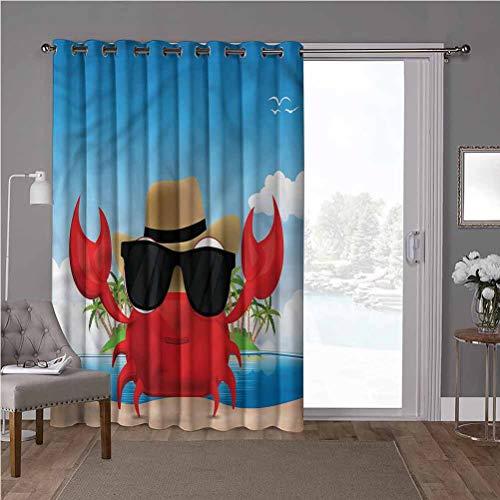 YUAZHOQI Cortinas correderas para puerta de patio, cangrejos, gafas de sol de crustáceo, 100 x 96 pulgadas, decoración del hogar moderna para niños guardería (1 panel)