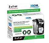 XROM Professional Descaling Kit Compatible With All K-Cup Keurig 2.0 Brewers, Biodegradable, All Natural Ingredients, Full Cycle Coffee Cleaning And Descaler Solution For Keurig Coffee Makers