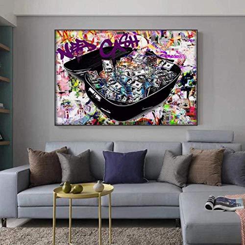 Sala de Decoracion Obras de Arte Sin Marco Colorido Dinero Pintura Poster Pared Arte Cuadros para Salon Dormitorio Moderno Maleta Sin Marco 40×50cm