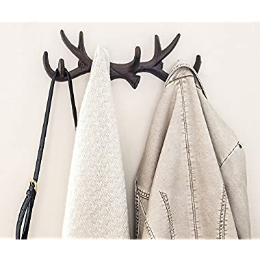 Comfify Vintage Cast Iron Deer Antlers Wall Hooks by Antique Finish Metal Clothes Hanger Rack w/Hooks | Includes Screws and Anchors | in Rust Brown (Antlers Hook CA-1507-26)