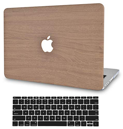 LuvCase2in1LaptopCaseforMacBookAir 13 Inch A1466/A1369 (No Touch ID)(2010-2017)LeatherHardShellCover &KeyboardCover (Brown Wood)