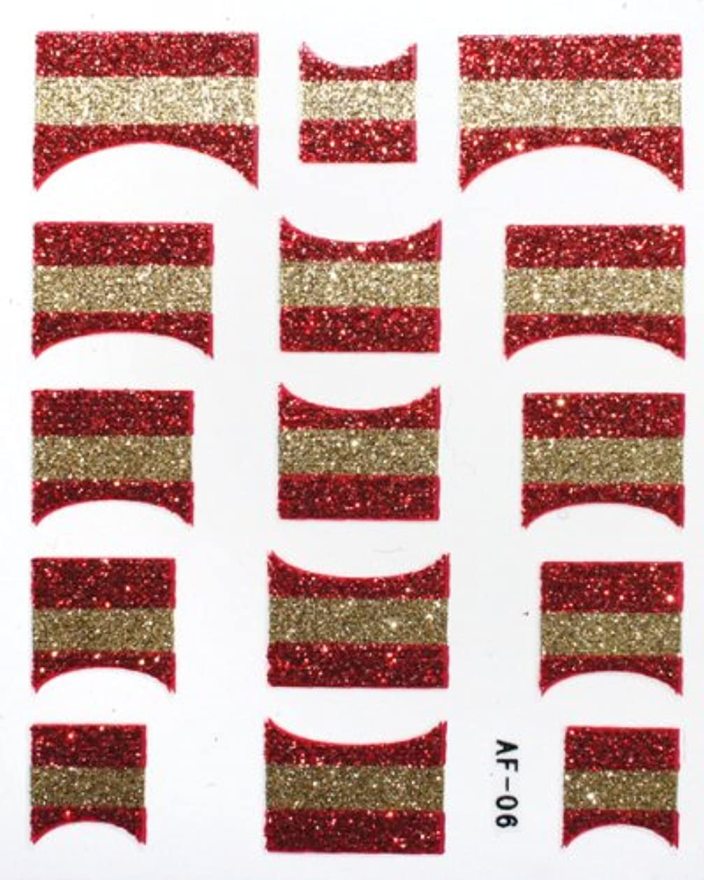 定数一方、引き受けるきらきら逆フレンチネイルシール スペイン国旗 AF06 貼るだけ ジェルネイルアート