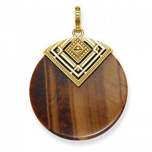 THOMAS SABO Damen-Anhänger Afrika Dreieck Silber vergoldet Tigerauge braun - PE749-887-2