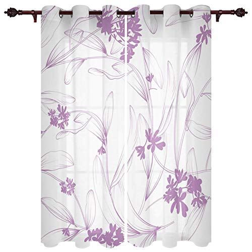 "T&H XHome Draperies & Curtains,Abstract Purple Floral Window Curtain, 2 Panel Curtains for Sliding Glass Door Bedroom Living Room 104"" W by 84"" L"