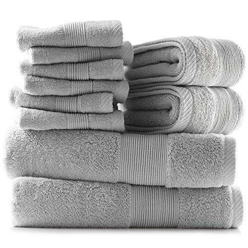 Hearth & Harbor 600 GSM Hand & Bath Towel Collection – 100% Cotton Luxury Set of 2 Bath Towels, 2 Hand Towels & 6 Washcloths – Ultra Soft & Absorbent Wash Cloths & Towels for Bathroom and Beach - Gray