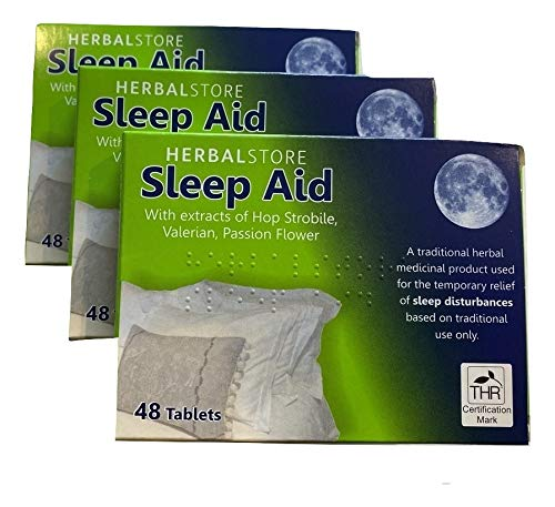 Sleep Aid Tablets Herbal Store 3 x 48 Traditional Insomnia Medicine Remedy from Kingdom Supplies.