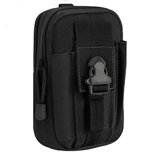 MoKo Taktische Hüfttaschen Molle Tasche, Mehrzweck Universal Outdoor Reißverschluss EDC Pouch Handy Armee Camo, iPhone SE 2020/11 Pro/11/11 Pro Max/Xs/Xs Max/XR, Galaxy S10e/S10/S10 Plus - Schwarz