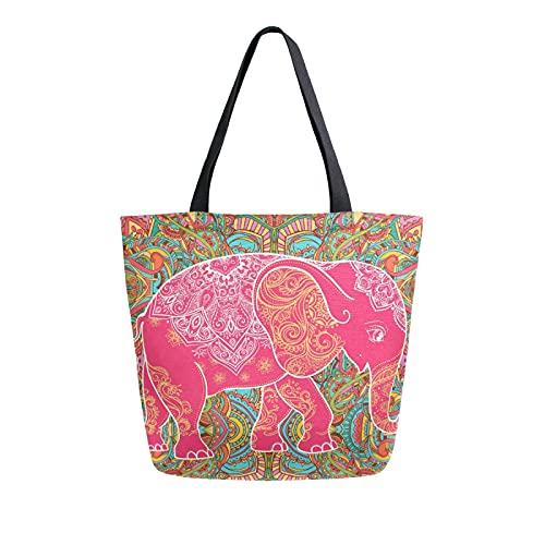 SunsetTrip - Bolsa de lona para mujer, diseño de elefantes de animales y tribales indios, reutilizable, grande, bolsa de compras con bolsillo interior