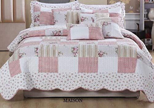 Colcha de 3 Piezas con diseño Floral de Patchwork, diseño Moderno, Relleno de algodón de Calidad Suave, Maison, Matrimonio Grande