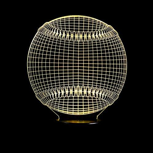 HGFHGD 3D LED USB Multicolor béisbol Chico Cable de iluminación hogar Fiesta...