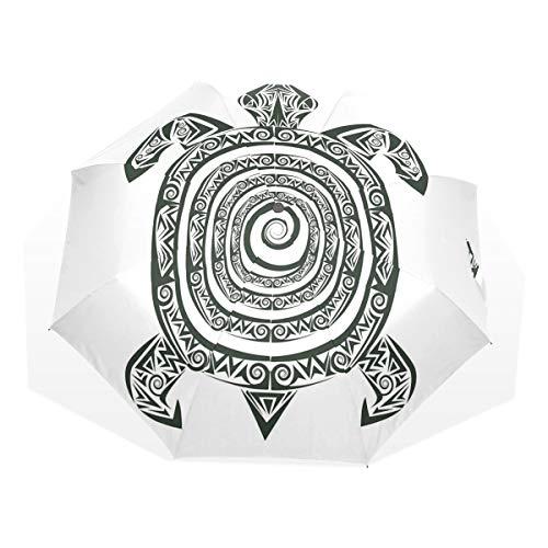 LASINSU Regenschirm,Maori Tattoo Style Figur der Meerestier Stammes Spirale Form Alten tropischen,Faltbar Kompakt Sonnenschirm UV Schutz Winddicht Regenschirm