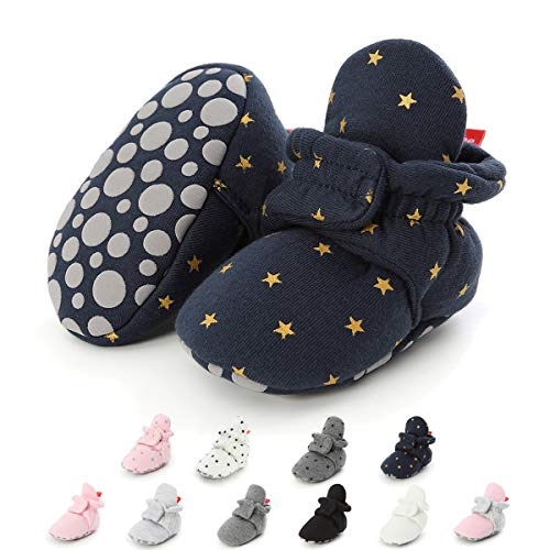 ENERCAKE Newborn Baby Boys Girls Cozy Fleece Booties with Grippers Stay On Slipper Socks Crib Infant Winter Shoes(6-12 Months Infant,C/Navy Star...