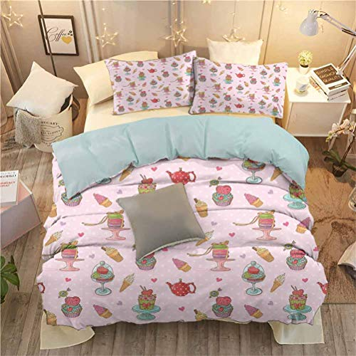 Kids Bedding Soft Sheet Set Ice Cream Decor Quilt Cover Set Retro Cupcakes Teapots Candies Cookies on Polka Dots Vintage Kitchen Print W104 x L90 InchMulticolor