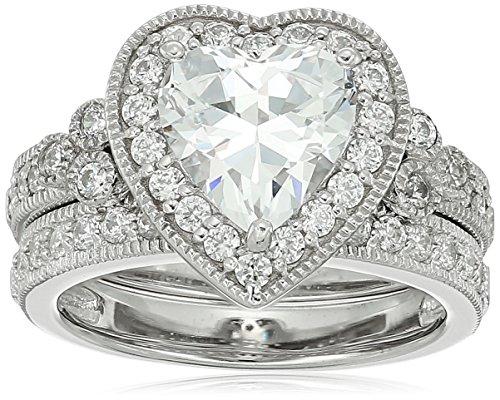 Platinum-Plated Sterling Silver Swarovski Zirconia Heart Antique Ring, Size 6