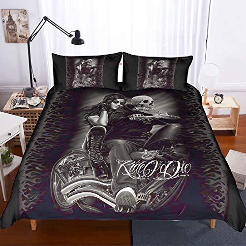 Cnspin 3 stücke Skeleton Duvet Set Schöne Frau küssen Bettwäsche 3D Krieger Quilt und Kissenbezug,B,200CMX200CM