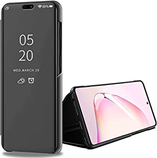 Galaxy Note 10 Lite Case, Ikwcase Flip Stand Leather Mirror Semi-Transparent View Cover for Samsung Galaxy Note 10 Lite Black