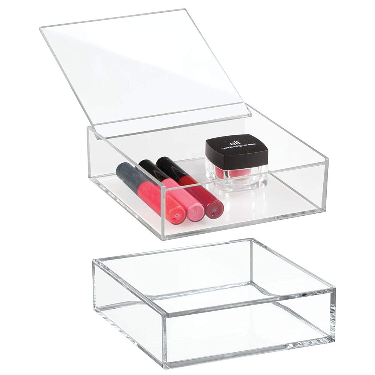 mDesign Small Mini Plastic Bathroom Drawer Vanity Organizer Boxes with Lids for Makeup Lip Gloss, Blush Jewelry - Set of 2, 6