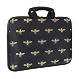 iLeadon 15 inch Laptop Sleeve with Handle, Compatible 15 inch MacBook Pro, MacBook Air, Notebook Computer, Carrying Handbag Briefcase Laptop Bag,Gold Bees