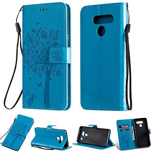 Zchen LG Q60 Hülle, LG K50 Hülle, Kunstleder Portemonnaie Handy-Schutzhülle Book Flip Design Klapphülle Etui Tasche für LG Q60, LG K50 (Katze-Blau)