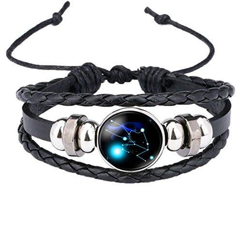 Caimeytie Trenzado Pulsera Ajustable 12 Constelación Cristal Claro Tauro