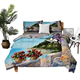 DRAGON VINES Four-Piece Bedding Duvet Set Four Piece-Suit Bedding Sea View from a Balcony with Cosy Rocking Chair and Flowers in Summer Clear Sky Oil Painting Printed Quilt Cover W104 xL90
