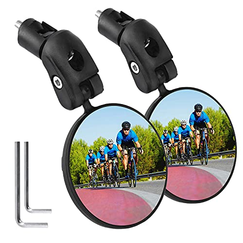 Mempedont Bike Mirror, Bicycle Riding Rearview Mirror, HD Safety Rearview Mirror, Convex Mirror With Adjustable Handlebar Installation, Suitable For Mountain Road Bikes (2 PACK)