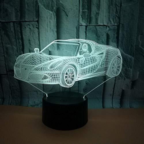 Luz nocturna 3D, lámpara de mesa LED táctil con 7 cambios de color, interruptor táctil alimentado por cargador USB, lámpara de mesa, adecuado para niños / coche