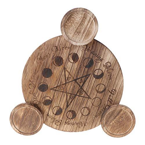 geneic Candelabro de madera Astrología Pentáculo Altar Placa de adivinación Vela mágica Mesa Adornos Energéticos