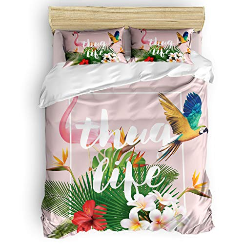 Luxury Lightweight Duvet Cover Set Full Size for Home Decor, Soft Microfiber Pink Flamingo and Parrot Thug Life Tropical Palm Leaves 4PCS Bedding Set with 1 Comforter Cover 1 Bed Sheets 2 Pillowcases