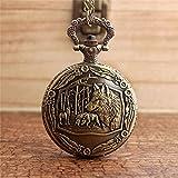 LEYUANA Orologio da taschino unico in bronzo con lupo per donna, lupo madre e bambino Collana con...