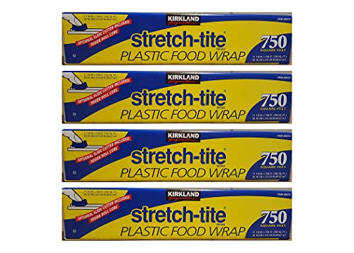Kirkland Signature Stretch Tite Plastic Food Wrap 11 7/8 Inch X 750 SQ. FT. Pack 4
