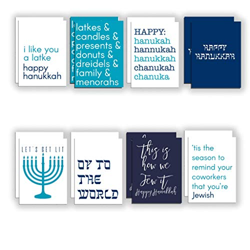 Funny Hanukkah Cards Boxed Set - 24 Blank Holiday Greeting Cards w/Envelopes - 12 Assorted Hilarious Chanukah Designs on High-Quality Card Stock - Cheeky Religious Stationery by RitzyRose