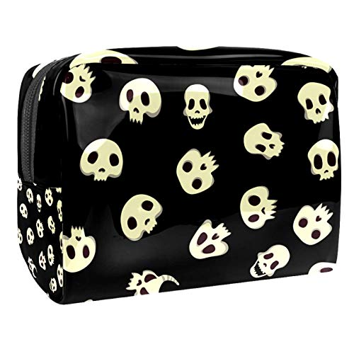 Travel Makeup Bag Skull light yellow Cosmetic Bag Portable Make up Case Organizer for Women and Girls for Cosmetics Makeup Brushes 18.5x7.5x13cm