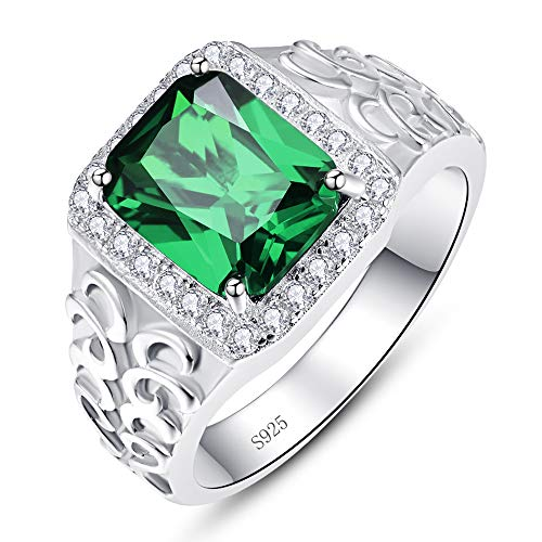 BONLAVIE Created Emerald Rings for Men 925 Sterling Silver Men's Wedding Engagement Rings 8x10mm Sapphire Emerald Cut CZ Bands Ring Size 6-12 Silver