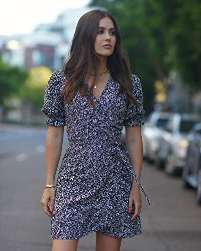 The Drop Women's Floral Print Puff Sleeve Wrap Dress by @paolaalberdi