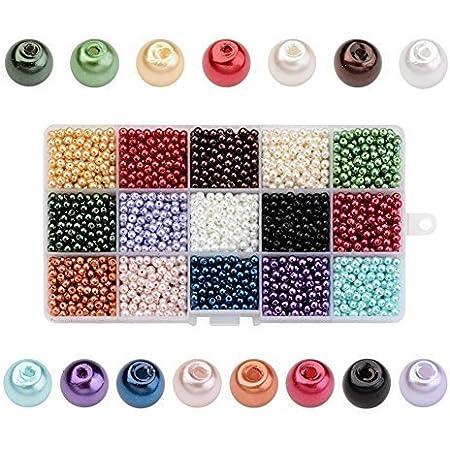 PandaHall 3400PCS 15 Colori 4mm Perline di Vetro Perline Colorate Perle Imitazione Rotondo per Braccialetti Gioielli Fai da Te, Perline per Natale Decorazioni, Foro: 0.8mm, Circa 225pcs/Colore