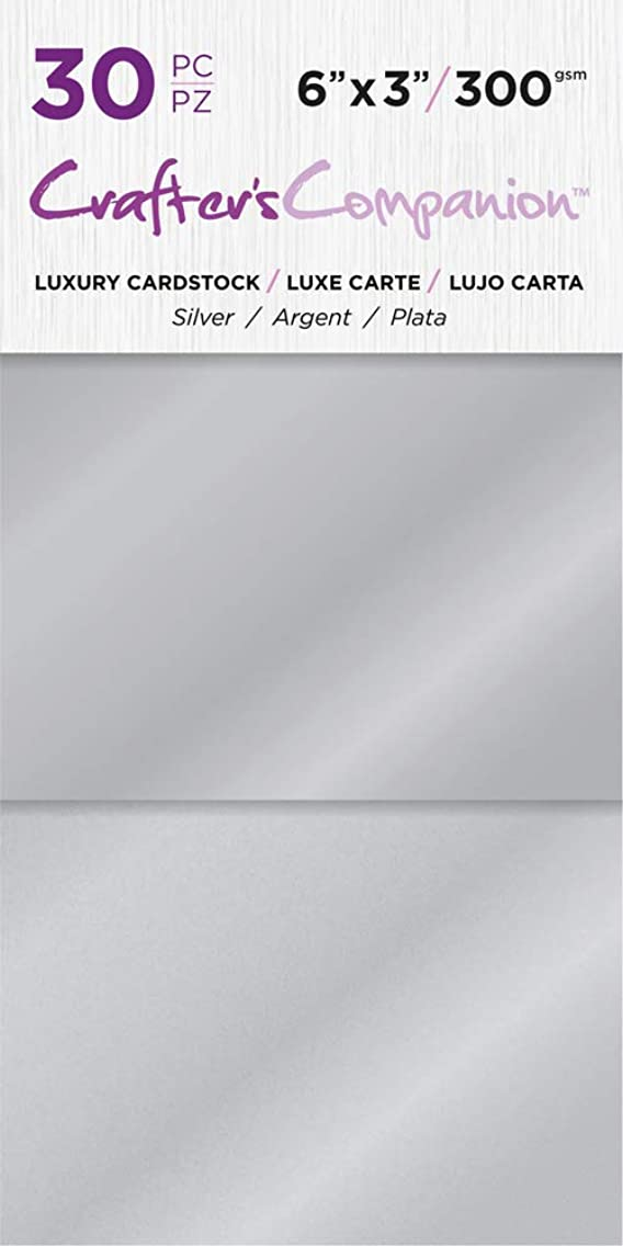 Crafter's Companion CC-PAD-LUX-SIL 6x3 Luxury Pack (30 Sheets) Cardstock, Silver