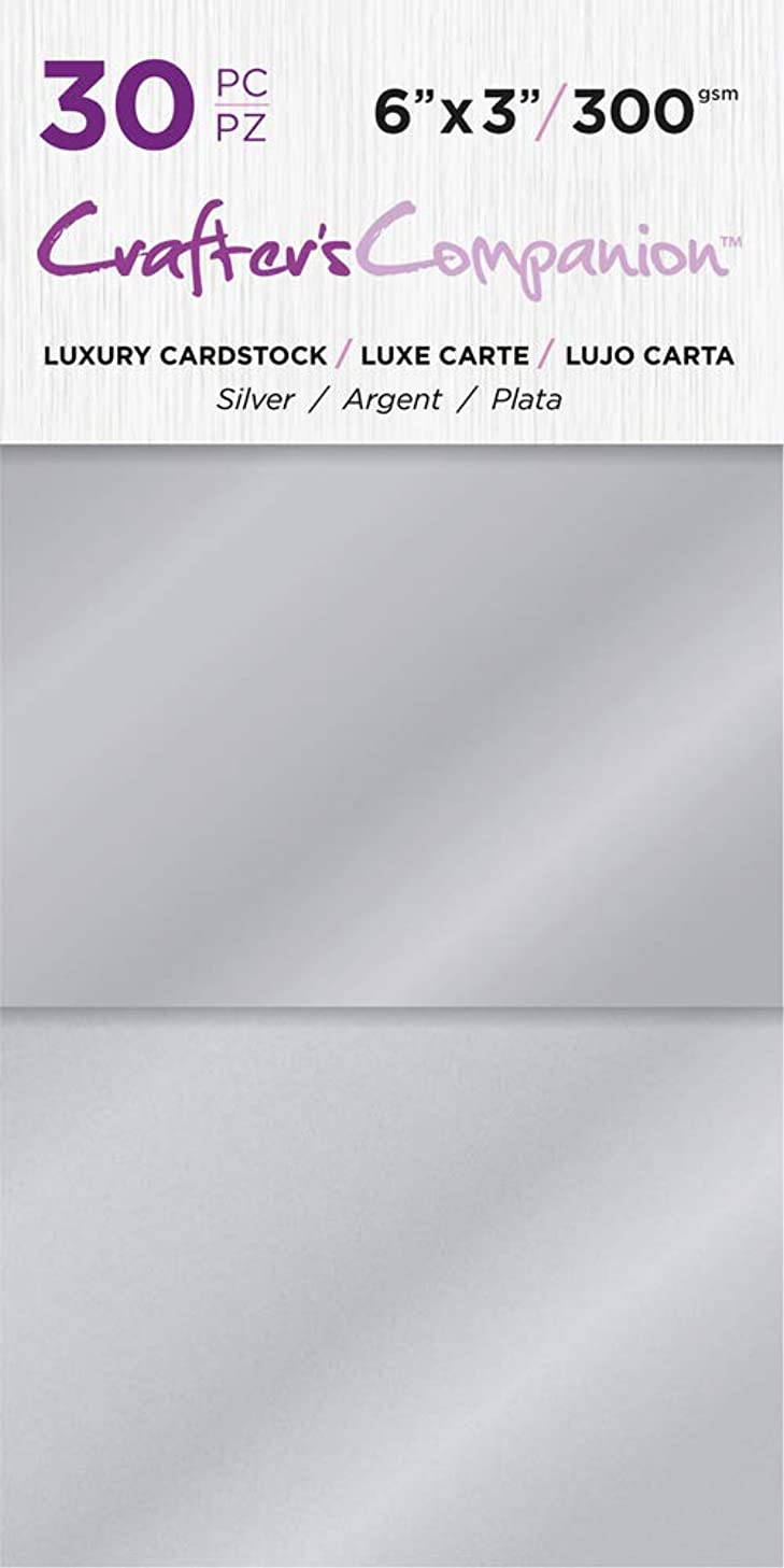 Crafter's Companion CC-PAD-LUX-SIL 6x3 Luxury Pack (30 Sheets) Cardstock Silver