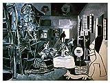 JH Lacrocon Las Meninas De 1957 de Pablo Picasso - 120X90 cm Pinturas Abstracto a Mano Reproducción sobre Lienzo Enrollado Decoración Pared para Salón