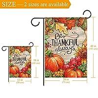 Bandiera del giardino di benvenuto(28x40inch)Decorazione per esterni da giardino verticale bifacciale,sii grato sempre autunno raccolto autunnale #2