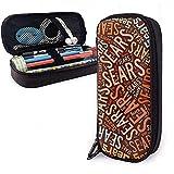 Sears American Apellido Funda de cuero de alta capacidad Estuche de lápices Estuche de lápices Bolso de almacenamiento grande Organizador de caja Bolígrafo de oficina Bolso de estudiante